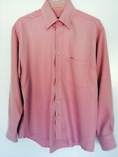 Bugatchi Uomo Pink Dress Shirt Size Medium Rayon / Poly Blend in EUC !