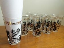 Vintage MCM Federal Glassware Black and Gold Thistle Highball Complete Set of 8