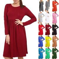 Ladies Womens Ruched Flared Franki Skater Swing Round Neck Maxi Dresses Top
