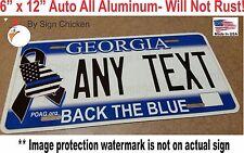 Georgia BACK THE BLUE license plate, Vanity, custom plate, AUTO size. 6 x 12