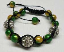 Yellow Crystal Rhinestone Lady Men Shamballa Braided Beaded Rope Bracelet Green