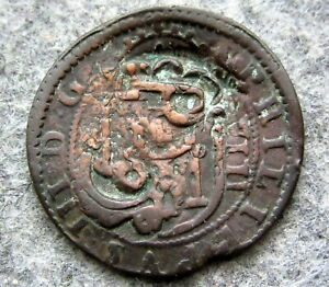 SPAIN FELIPE III 1641 - 1659 8 MARAVEDIS COUNTERSTAMPED - PIRATE MONEY COPPER