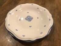 """Set of 2 - PFALTZGRAFF Blue MAISON 11 1/4"""" Dinner Plates Flowers Scalloped"""