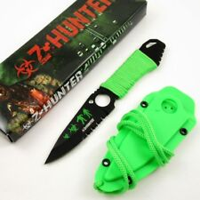 Fixed-Blade Neck Knife | Z-Hunter Green Paracord Black Blade Tactical Survival