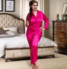Nine X Womens Plus Size Lingerie S-6xl Satin Pyjamas Long Sleeve Nightwear Pj's 24 Pink