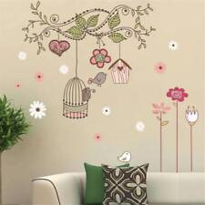 Happy Bird Cage Tree DIY Removable Wall Stickers Mural Parlor Kids Bedroom -