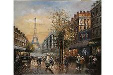 """PARIS! LE TOUR EIFFEL - CITYSCAPE IN OIL.  24"""" x 20"""" SIGNED R. YOUNG"""