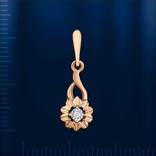 Blume Anhänger mit Diamant 0,012ct Russische Rose/weiss Rotgold 585/14kt BICOLOR