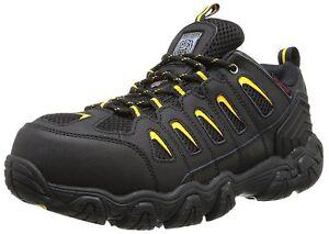 77051 Skechers Men's Work-Blais Steel Toe Lace Up Shoes BKYL Black/Yellow A2
