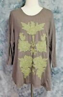 LOGO Lori Goldstein Womens sz L Gray Green Floral Embroidered Tunic Top