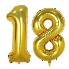 "16"" 18 Gold Number Balloons 18th Birthday Party Anniversary Foil Balloon Decor"