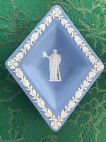 WEDGWOOD BLUE JASPERWARE TRINKET TRAY SMALL PLATE DIAMOND SHAPE