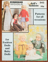 Kinross Knitting Pattern Book Dolls Clothes Lacy Premature Baby 80s Vintage 543