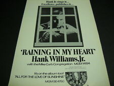 HANK WILLIAMS JR. w/ Mike Curb Cong. 1971 PROMO Poster AD Raining In My Heart