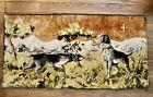hunting dogs velvet velour wall tapestry art   vintage Italy distressed