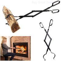 Metal Fireplace Tongs Log Grabber Coal Long Tool Scissor Grills Fire Pits Stoves