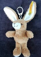VINTAGE HANDMADE STEIFF Brown BUNNY RABBIT Keychain - Cozy Friends Button ID, ST