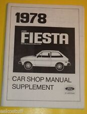1978 Ford Fiesta Car Shop Manual Supplement Great Charts! Nice See!