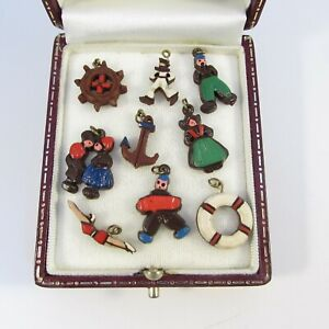 Vintage Art Deco Hand Painted Set of Small Plastic Charms- Nautical Theme