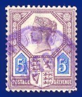 1888 SG207a 5d Dull Purple & Blue Die 2 Damaged Value Tablet K36(1)c CV £60 afut