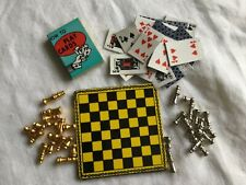 Dolls house games set of magnetic chessboard and playing cards 1/12th scale