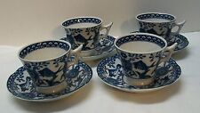 Fish Teacup and Saucer Blue and White Porcelain Vintage set 4