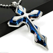 Blue Stainless Steel Cross Pendant Crucifix Faith Unisex Chain Durable Necklace
