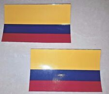 "2 X Colombian Decal 3"" X 5"" Colombian Flag Viva Colombia papa.  Laminated USPS"