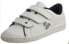 NEW BOXED TOMMY HILFIGER (UK 1 ) LEATHER VELCRO TRAINERS ( eur 33 ) SALE