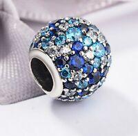 genuine 925 sterling silver Ocean Mosaic Sky BLue CZ Crystal charm fit bracelet