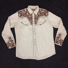 Scully Cream Brown Embroidered Western Rockabilly Pearl Snap Cowboy Shirt L