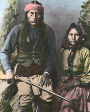 """APACHE CHIEF NAICHE NATIVE AMERICAN INDIAN 1921 8X10"""" HAND COLOR TINTED PHOTO"""