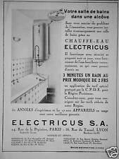 PUBLICITÉ ELECTRICUS S.A CHAUFFE EAU 3 MINUTES UN BAIN AU PRIX MODIQUE DE 2 FRS