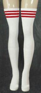 Red Striped Thigh High White Tube Socks Sexy 35-13