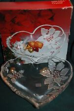 "MIKASA POINSETTIA HEART SHAPED Serving Tray - 10 3/4"" - Red Accent"