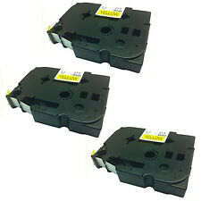 3 Compatible Brother TZ631/TZe631 P-Touch 12mm x 8m Black on Yellow Label Tape