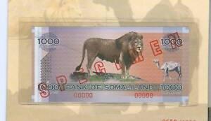 2006 SPECIMEN SOMALILAND 1000 SH. BANKNOTE LION/CAMEL