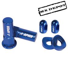 APICO BLING RIM LOCK NUT & VALVE CAP KIT BLUE HONDA CR125 CR250 CRF250 CRF450