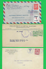 DOMINICAN REPUBLIC  2 SHIP COVERS and AIRMAIL COVER to USA--1924-28-63--3 total