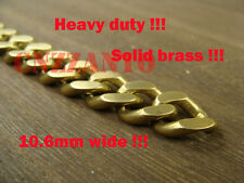 Heavy duty 1 foot solid brass flattened chain 10.6mm wide for wallet / Fob chain