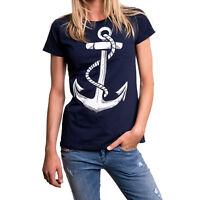 Anker Damen Top T-Shirt Tattoo Hamburg Love dunkelblau Anchor Fashion Shirts SML