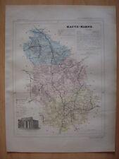 CARTE départementale de la HAUTE MARNE vers 1880 Chaumont Langres Vassy