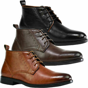 Lace Up Smart Ankle Boots Leather Formal Shoes Mens Size