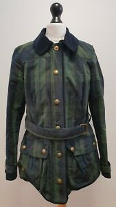 WOMENS JOULES GREEN BLUE CHECK BELTED WAXED COTTON COLLARED JACKET UK 10 EU 38