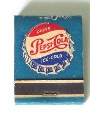 "1950's Drink  Pepsi-Cola Ice Cold, Full Match Book,"" More Bounce To The Ounce."""
