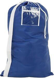 Honey-Can-Do Blue Drawstring Clothes Laundry Duffel Bag w/ Shoulder Strap