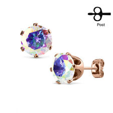 PAIR Rose Gold Ion Plated Steel Aurora Borealis or Clear CZ Gem Stud Earrings