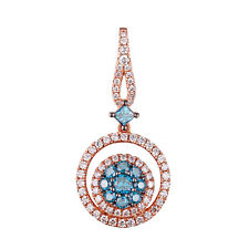 0.66CT Round & Princess Cut Blue Diamond & Natural Diamond Pendant,14k Rose Gold