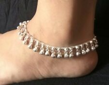 Bells Indian Women Wedding Gift Jewelry 1 Pair Silvertone Chain Metal Anklets