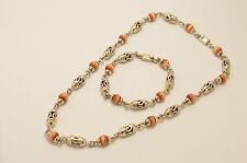 Taxco 925 Sterling Silver with Cat's Eye Beads  Chain Necklace & Bracelet